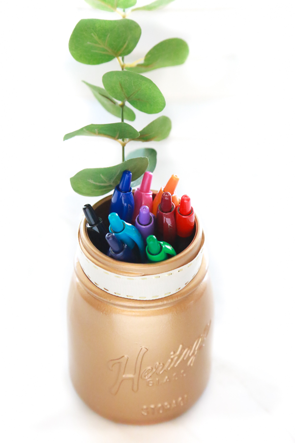 Get your Martha Stewart on and make this adorable, yet functional DIY Gold Pen Holder to your desk.