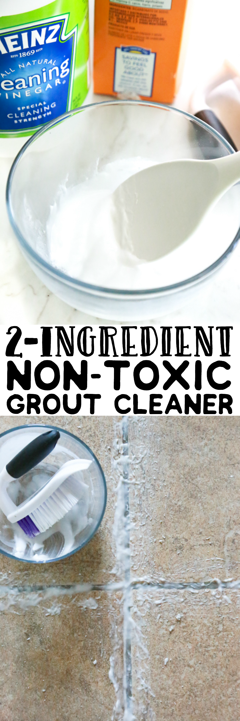 If your tile grout is in need of good deep-cleaning, try this Homemade 2-Ingredient Non-Toxic Grout Cleaner for an all-natural clean.
