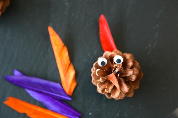 how to make a turkey pinecone kids craft