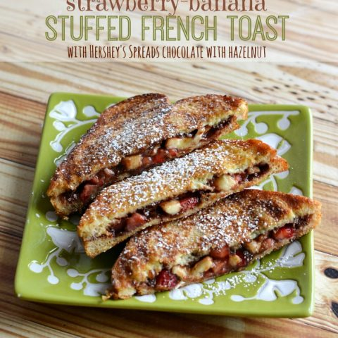 Strawberry-Banana Stuffed French Toast with Chocolate and Hazelnut Spread