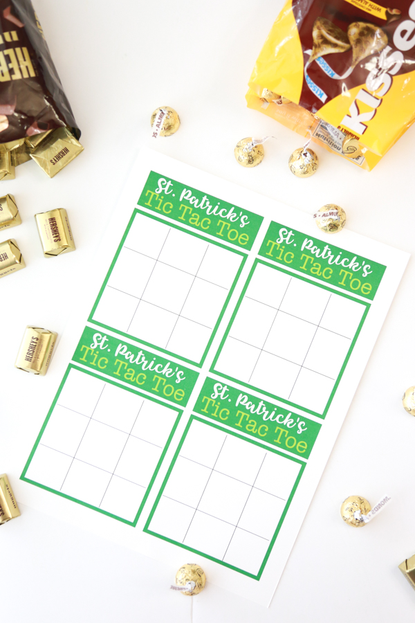 st patricks day tic tac toe printable