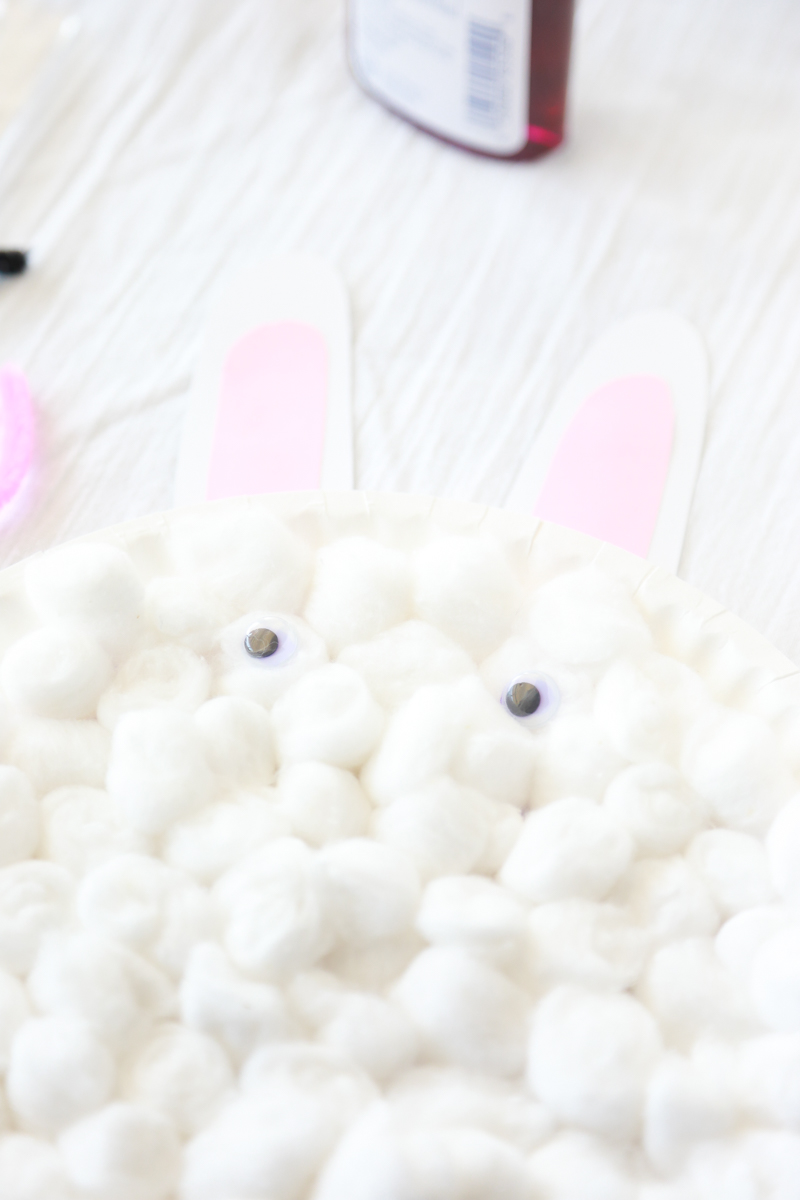 cotton ball bunny for easter