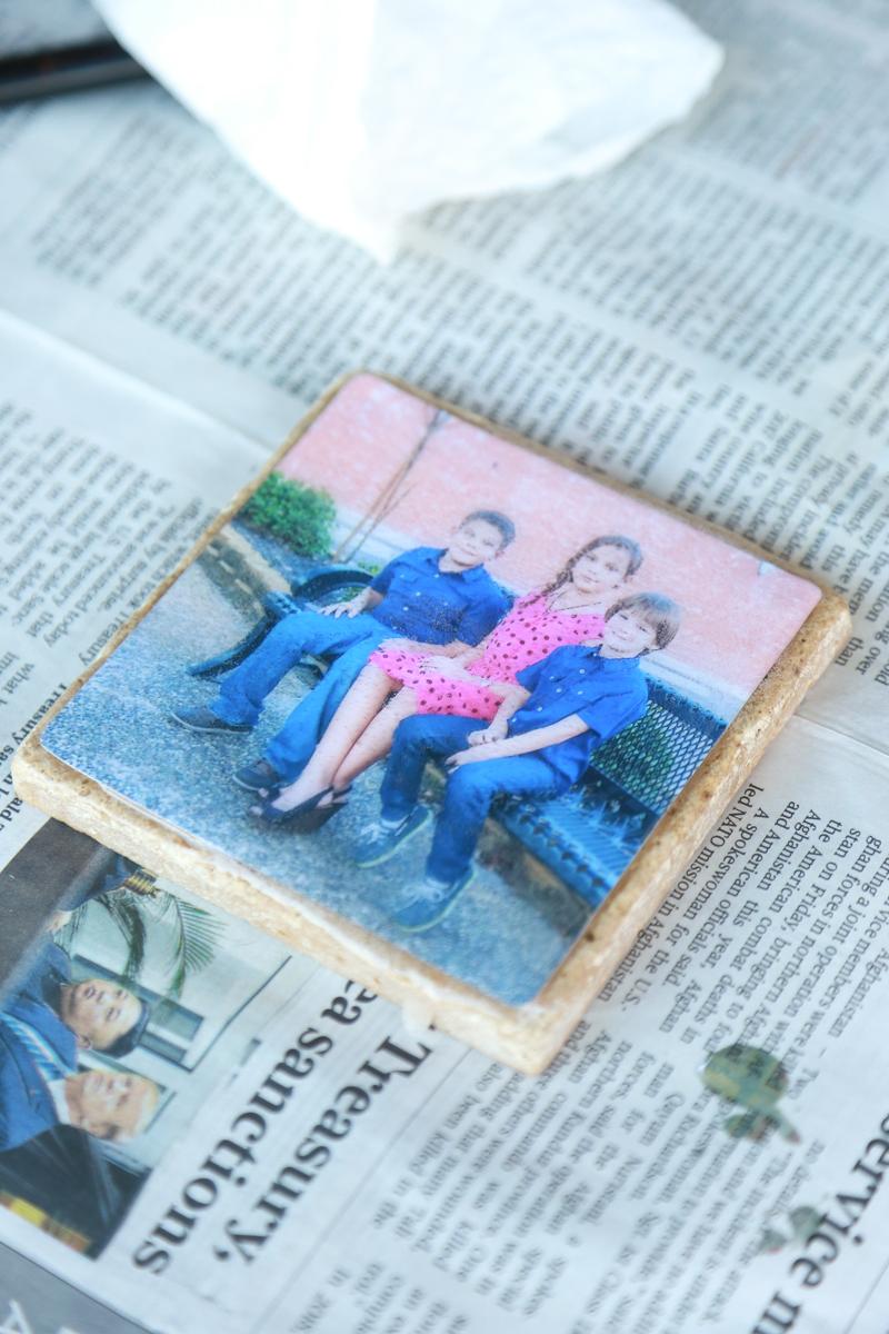 homemade photo coaster