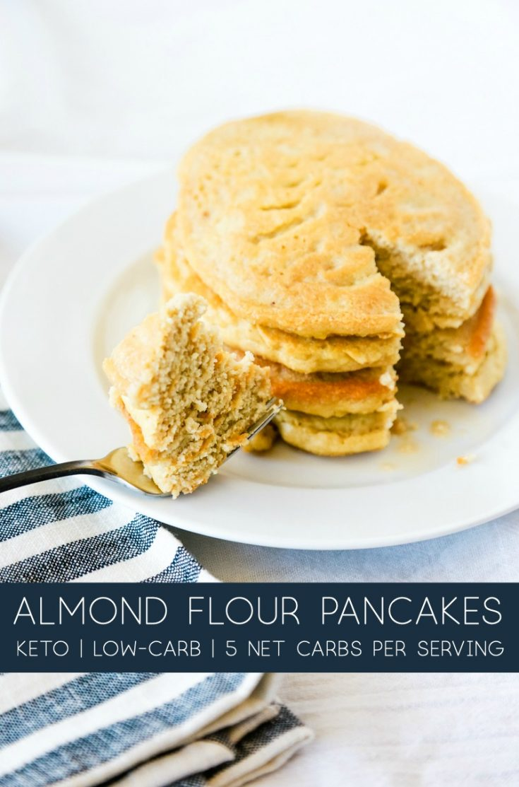 If you've been missing pancakes on the Keto diet, you don't have to anymore. You can enjoy these delicious, easy to make Almond Flour Pancakes with this simple Keto recipe. #keto #lowcarb #almondflour #pancakes #grainfree