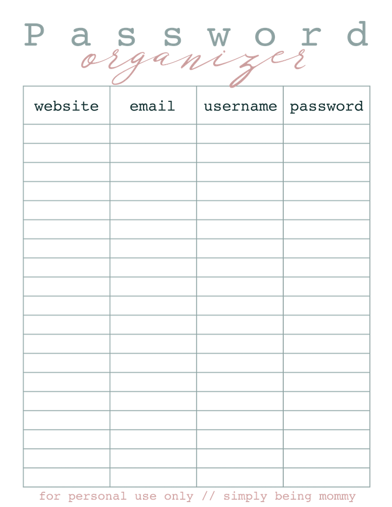 Effortless image throughout printable password organizer
