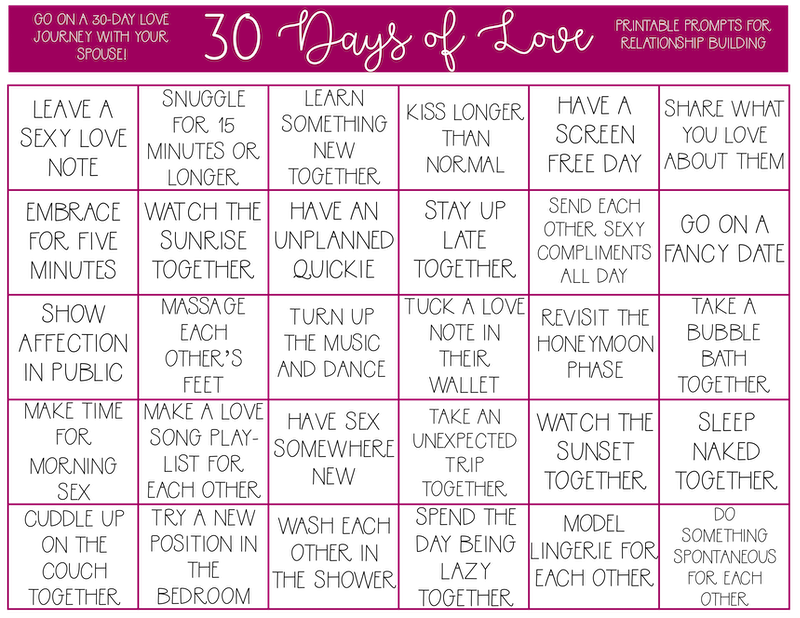 photo regarding 30 Day Challenge Printable named 30 Times of Appreciate Issue No cost Printable for Partners