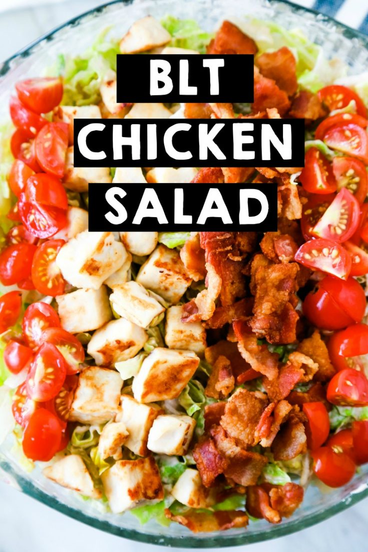 If you want a delicious, easy summer salad that checks all the boxes, try this BLT Chicken Salad recipe. #summersalad #blt #chickensalad