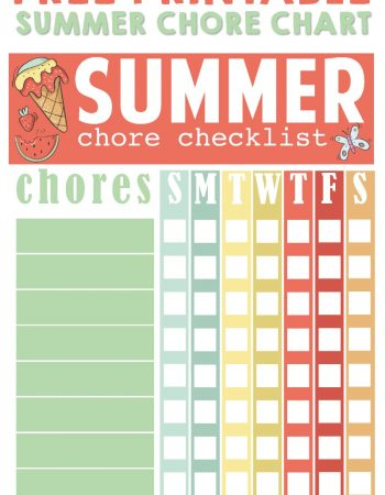 free printable summer chore chart
