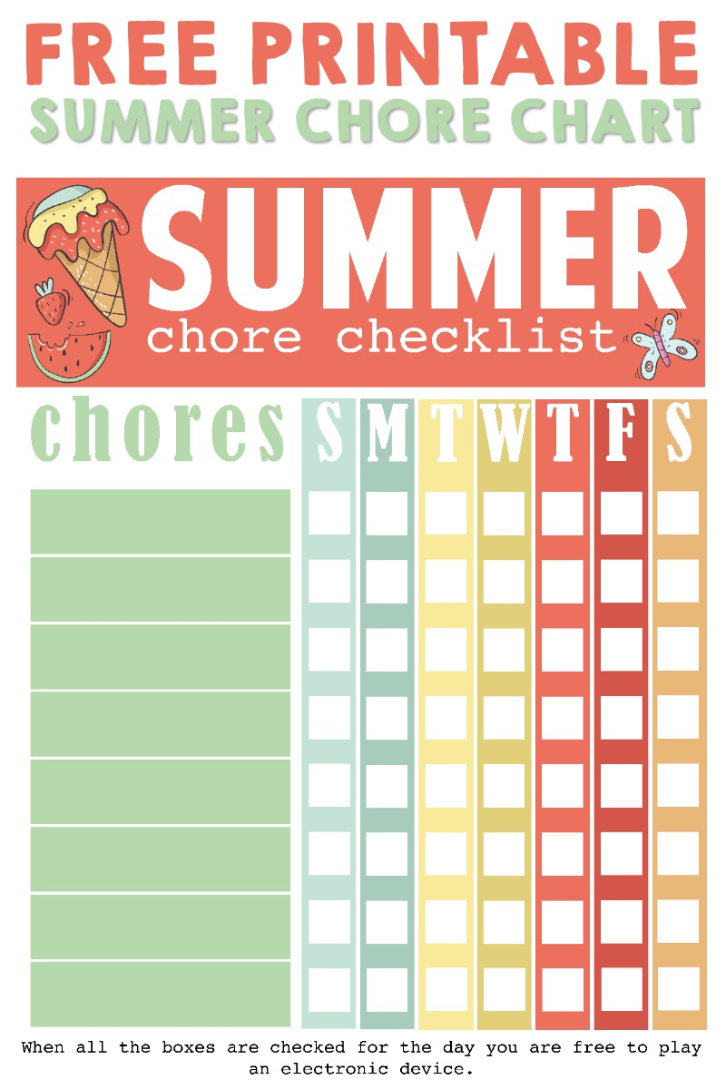 image regarding Chore Chart Free Printable called Printable Summer time Chore Listing Easily Remaining Mommy
